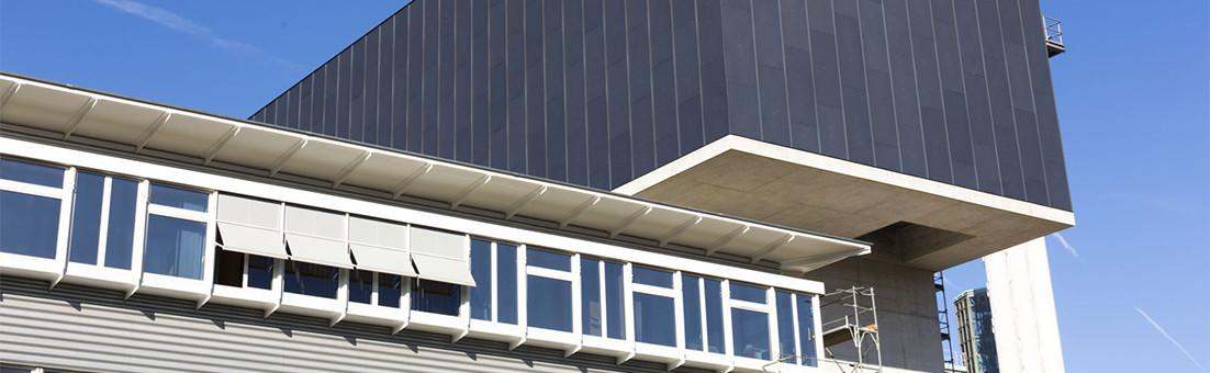 Façade en aluminium anodisé avec peinture Spectrocolor, KVA Winterthur